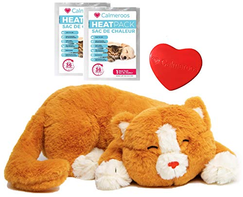 Calmeroos Kitty Heartbeat Toy Sleep Aid with 2 Long-Lasting Heat Packs Last 36 Hours Each Kitten Puppy Anxiety Relief Soother Cats and Dogs Cuddle Snuggle Calming Behavioral Aid for Pets