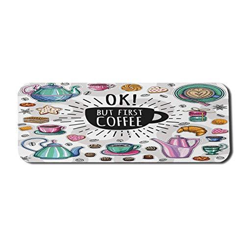 Sprichwort Computer Mouse Pad, Patisserie Concept Croissant und Ok First Coffee Text auf einer Kaffeetasse Silhouette, Rechteck rutschfeste Gummi Mousepad Large Multicolor