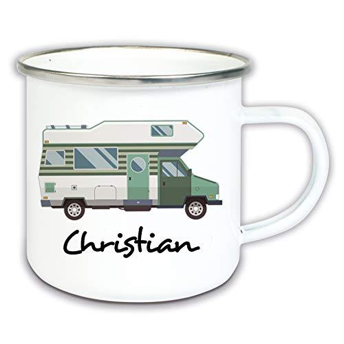 Werbetreff Gera Emaille Tasse mit Name Wohnmobil Camper Camping Becher Geschenk Namenstasse Campingküche Reisegeschirr