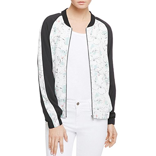 Sanctuary Women's Floral Print Colorblock Full Zip Bomber Jacket White Size XS