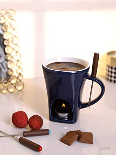 Chocolate Fondue Set with 2 Candles & 4 Forks (Set of 7 Pcs)
