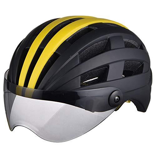 AJL Casco de Bicicleta Negro y Amarillo con Gafas Moldeo de una Pieza Tecnología aerodinámica de la tecnología de Seguridad Capa Capa DE Capa DE Bicicleta Equipo DE PROTECCIÓN