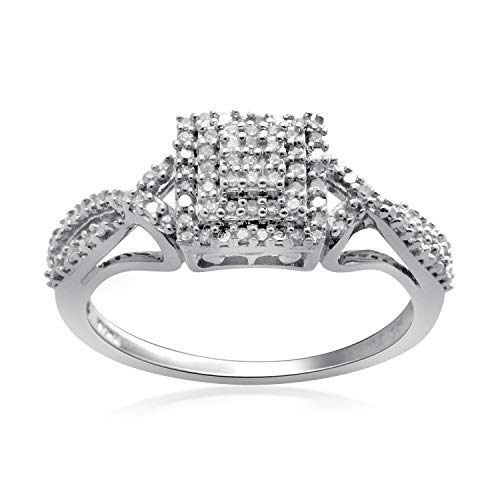 Jewelili Sterling Silver 1/5cttw Natural White Diamond Ring, Size 8