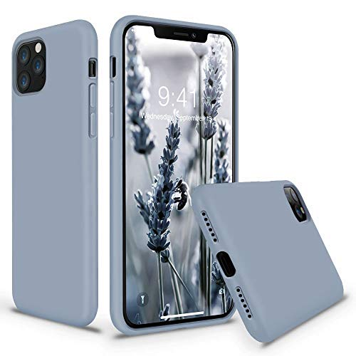 Vooii iPhone 11 Pro Max Case, Soft Liquid Silicone Slim Rubber Full Body Protective iPhone 11 Pro Max Case Cover (with Soft Microfiber Lining) Design for iPhone 11 Pro Max - Lavender Grey