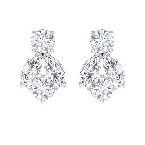 Pendientes de tuerca de diamante de 1/4 CT para mujer (calidad AAA), rosca trasera blanco