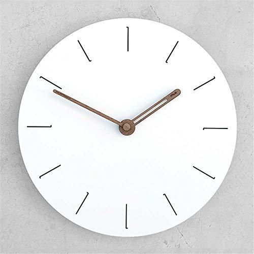 LIUFUHAON wandklok modern minimalistisch wandklok dubbel gebruik herenhorloge met Romeinse cijfers van hout Nordic wit zonder plank -F_29.6x29.5cm