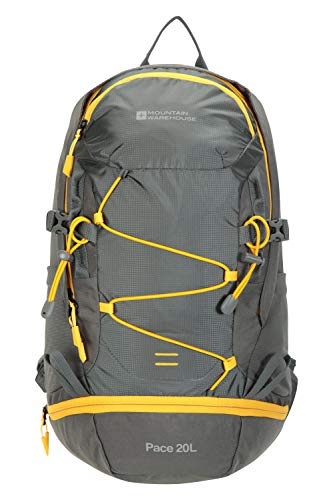 Mountain Warehouse Pace 20L Rucksack - Hydration Compatible Backpack, Airflow Back System Rucksack, Packaway Rain Cover - Bag for Travelling, Hiking, Camping Grey