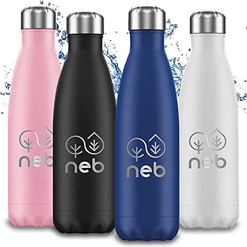 Neb – Botella térmica de acero inoxidable – 500 ml – Mantiene caliente / frío | estanqueidad – Lavable en lavavajillas – Sin BPA | Fabricado en Italia (1 botella de agua, rosa)