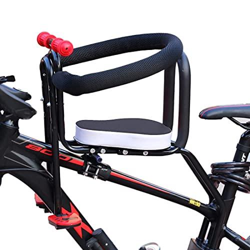 RVTYR Dittzz Asiento de bicicleta para niños, asiento delantero de bicicleta con pedales de pie, valla y asa, asiento de seguridad para bicicleta de carretera MTB (color: negro)