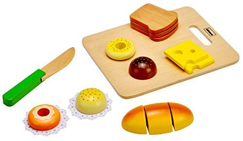 Idena 4100102 - Kleine Küchenmeister Brotzeit Set aus Holz, für Spielküche und Kaufmannsladen, ab 3 Jahre, ca. 20 x 16 x 4 cm