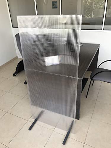 Mamparas de protección separadoras (Pack x 2 uds.) - 70x150cm - Policarbonato celular translúcido - Puestos de trabajo, mesas de restaurante, peluquerías, gimnasios