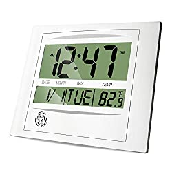 HeQiao Brushed Aluminum Digital Wall Clocks with Date (Luxury Silver)