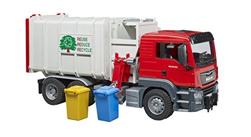 Bruder Spielwaren Gmbh + Co.Kg- Camion Poubelle Man Tgs avec 2 Poubelles Bruder Comm Trasp.Rifiuti C/Acc 03761, Colore Rosso, 837294