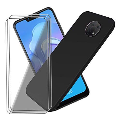 HJJS Black Funda + [3 Piezas] Protector de Pantalla para Nokia G10 (5.52 Pulgada),Silicone Carcasa Ultradelgado Case,Suave Bumper Anti Rasguño Cover Caso,para Nokia G10 Cristal Templado