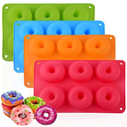 WENTS Silikon Donut Formen 4 Stücks Silikon Donut Backform Antihaft Backblech für Kuchen Keks Bagels Muffins Kuchen für Geschirrspüler, Backofen, Mikrowelle, Kühlschrank(4 Farben)