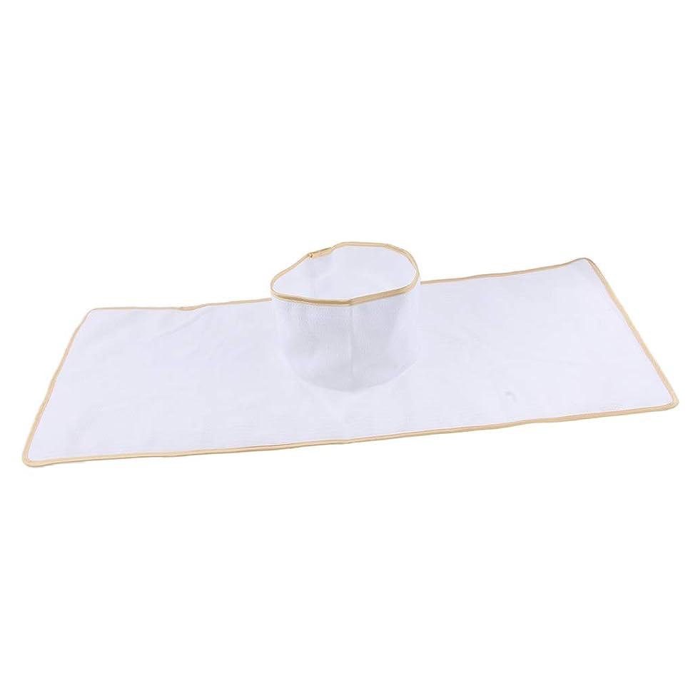 知性リレー対D DOLITY サロン マッサージベッドシート 穴付き 衛生パッド 再使用可能 約90×35cm 全3色 - 白