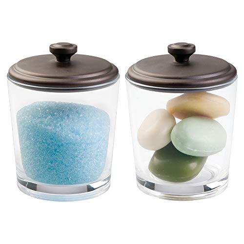 mDesign Bathroom Vanity Glass Canister Jar for Epsom Bath Salts, Soap, Cotton Balls, Swabs - Pack of 2, Clear/Bronze