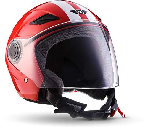 "MOTOHelmets® U52 ""Racing Red"" · Jet-Helm · Motorrad-Helm Roller-Helm Scooter-Helm Bobber Mofa-Helm Chopper Retro Cruiser Vintage Pilot Biker Helmet · ECE Visier Schnellverschluss Tasche M (57-58cm)"