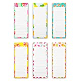 Magnetic Notepads for Grocery to-Do Shopping Lists Refrigerator Memos - Fruit Design (6 Pack, 60 Sheets Each)