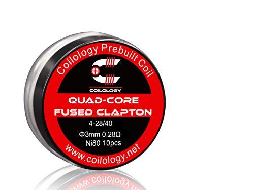 10x COILOLOGY Quad-Core Fused Clapton 4-28/40 0.28Ω 3mm ID PREMIUM Coils Draht Wicklung Selbstwickler Verdampfer RDA RBA RTA Nichrome Ni80