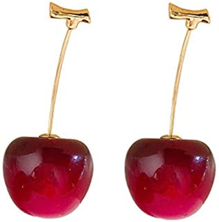 Moca 3D Red Cherry Drop Earrings Cute Fruit Gold Dangle Earrings Charm Jewelry Gift Earrings for Women Girls