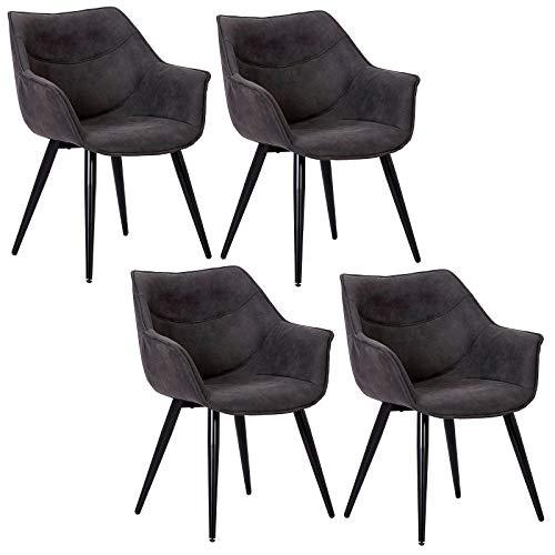 WOLTU 4 x Esszimmerstühle 4er Set Esszimmerstuhl Küchenstuhl Polsterstuhl Design Stuhl mit Armlehne, mit Sitzfläche aus Stoffbezug, Gestell aus Metall, Antiklederoptik, Anthrazit, BH99an-4
