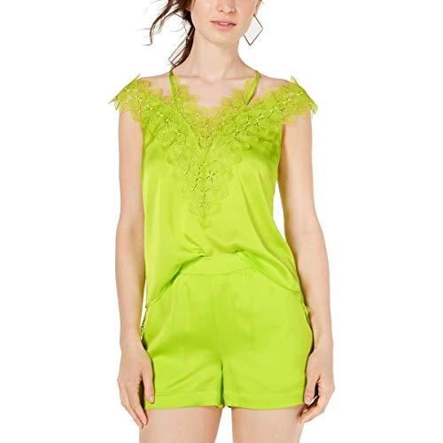 GUESS Womens Izabella Lace-Trim Solid Tank Top Green L