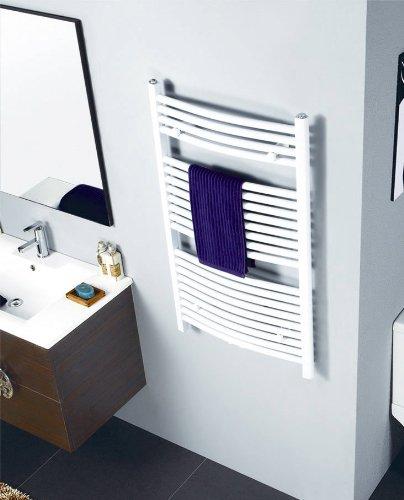 SixBros. R20 Badheizkörper (1200 x 500 mm, Watt 652) – Ovaler Heizkörper mit Handtuchhalter für das Bad - pulverbeschichtet – weiß