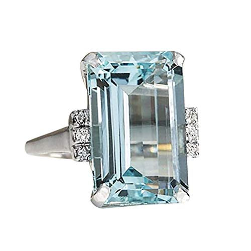 Fulltime(TM) Classic Sky Blue Aquamarine Rings for Women Girlfriend Vintage Wedding Engagement Anniversary Simple Jewelry Gift