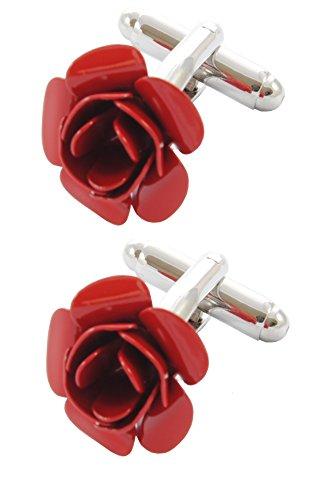 COLLAR AND CUFFS LONDON - HOCHWERTIGE Manschettenknöpfe mit Geschenk Box - Rote Rose - Stilvolle Messing - Silber Farbe - Blume Gartenarbeit Romantik Liebe Runde