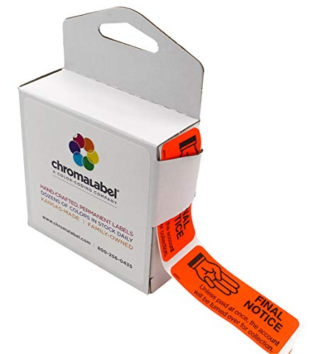 """ChromaLabel 1 x 2-¼ Inch Accounts Receivable Collections Labels, 250 Dispenser Box, Red, Imprinted:""""Final Notice"""""""