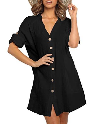 YOINS Mujer Vestido Camisero Vestido con Cuello En V Camisa Manga Larga con Botones Moda Vestido Casual Camisa Vestido Túnica Negro S