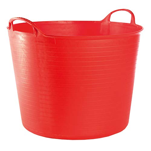 RED HOG Container Bucket Basket Flexible Flexi Multifunzionale, Stabile, Giardino, Garage, Alimentazione degli Animali, Stoccaggio, Portare, Annaffiare, Forza 120 kg, 44x33x35cm 42L Rosso