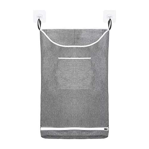 Hanging Laundry Hamper Bag Space Saving Wall with Stainless Steel Hooks Dirty Clothes Bag Large Storage Folding Basket Hanging Zippered Laundry Basket for College, Closet, Behind Doors (Gray, 1)