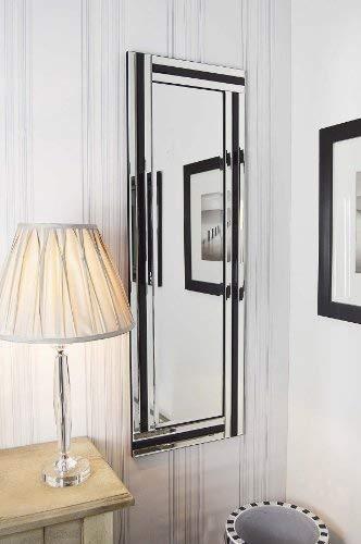 Grote spiegel van glas, met drie randen, modern, 120 x 40 cm, zwart/zilverkleurig
