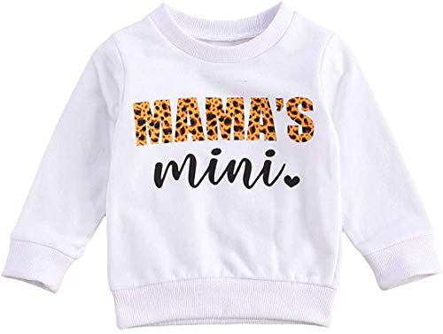 MoccyBabeLee Toddler Baby Girl Sweatshirts Mama\'s Mini O Neck Long Sleeve Crewneck Pullover Tops Fall Winter Warm Clothes (White-Mama Mini,6-12 Monate)