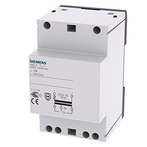 SIEMENS - Sicherheitstransformator, 24VA Primär AC 230V, 50Hz, Sekundär 8V, 12V AC mit PTC-Sicherung, 3TE++