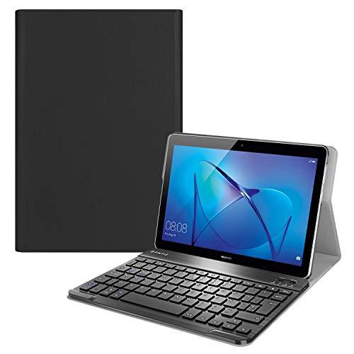 Fintie Funda con Teclado Español Ñ para Huawei MediaPad T3 10 - Carcasa SlimShell con Soporte y Teclado Español Bluetooth Inalámbrico Magnético Desmontable, Negro