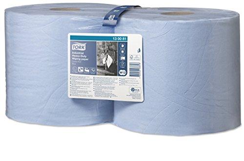 Tork 130081 Papel de secado extra fuerte para la industria / 2 paquetes / 3 capas/Paños de papel compatibles con el sistema W1 y W2 / Premium / 2 bobinas x 119 m de largo/azul