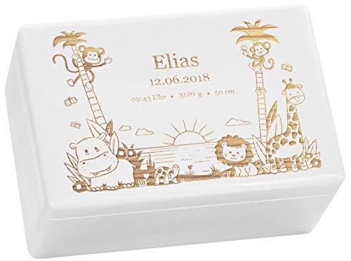 LAUBLUST Holzkiste mit Gravur - Personalisiert mit ❤️ GEBURTSDATEN ❤️ - Weiß, Größe M - Dschungel Motiv - Erinnerungskiste als Geschenk zur Geburt