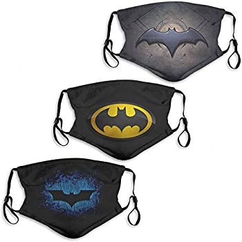 Superhero Bat-Man Men Womens Face Mask 3PC with 6 Filter Washable Face Cover Dust-Proof Balaclava Reusable Made in USA