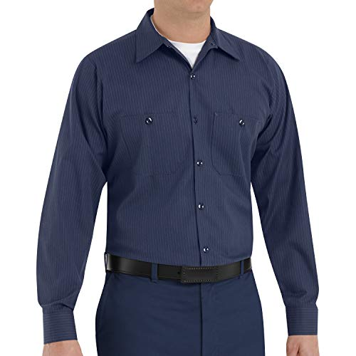 Red Kap Men's Durastripe Work Shirt, Navy/Light Blue Twin Stripe, 3X-Large