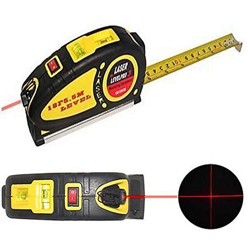 Rangwell 5 m Laser Spirit Level with 18F Retractable Measuring Tape Pro Multi-Function Tool (Multicolour)