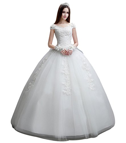 JJ-GOGO Bride Wedding Dress - White Off The Shoulder Ball Gown Wedding Dress for Bride (S)