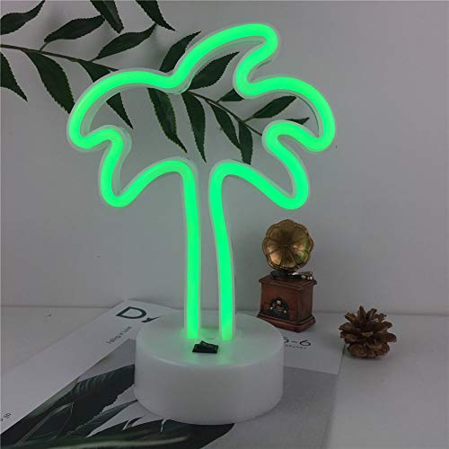 Qunlight Neon Night Light Palm Tree Shaped with Green Lamp USB & Battery Powered No Heat Table Lamp, Decoration for Wedding Sign,Birthday Party,Kids Room, Living Room,Bedroom,or Bar(Palm Tree)