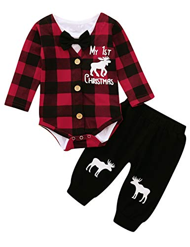 Shalofer Baby Boy My 1st Christmas Outfit Newborn Xmas Gift Pant Set (Red,0-3 Months)