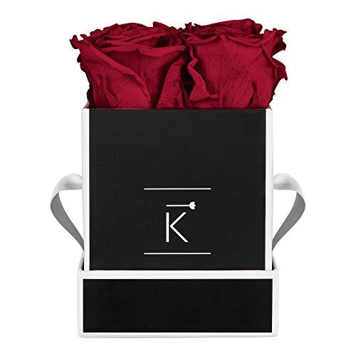 TRIPLE K Rosenbox Square Black, Infinity Rosen, bis 3 Jahre haltbar, Flowerbox Geschenkbox inklusive Grußkarte (XS, Red)