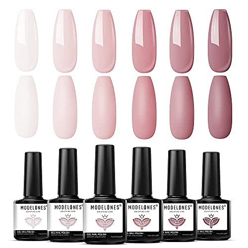 Modelones Gel Nagellack - 6 Farben Nude Pink Gel Nagellack Set Weißes Nagelgel Soak Off UV Gel Lack Langlebiges Pastell Gel Nageldesign für Nagelstudio Design DIY zu Hause
