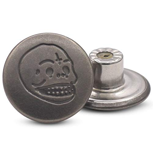 17mm Metal Jean Stud Buttons - Replacement Buttons for Denim, Jeans, Jackets