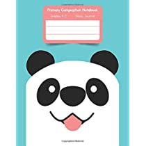 Primary K2 Composition Notebook: For Kids K-2 Grades Story Journal | Picture Space and Dashed Midline Smiling Panda Face Cover